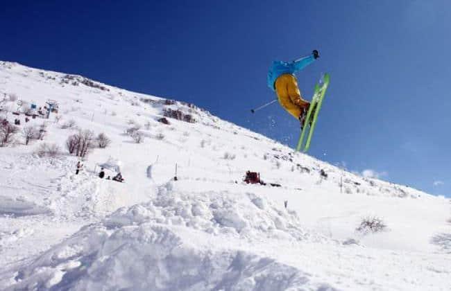 Drone follows skier