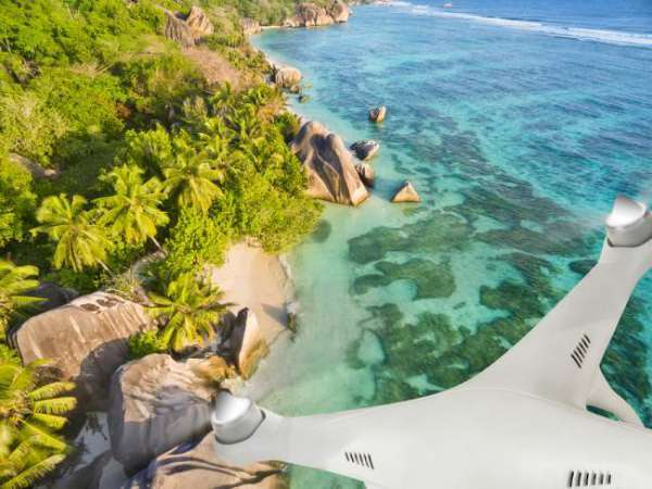 Long range drone over beach